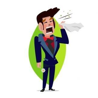 man sneezing illustration