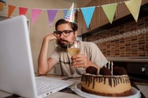 Lonely celebrating birthday online in quarantine via Zoom