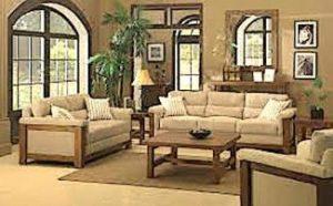 living room with beige tones