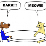 "cartoon of dog and cat sitting at a table. Dog says ""bark."" Cat says ""Meow."""