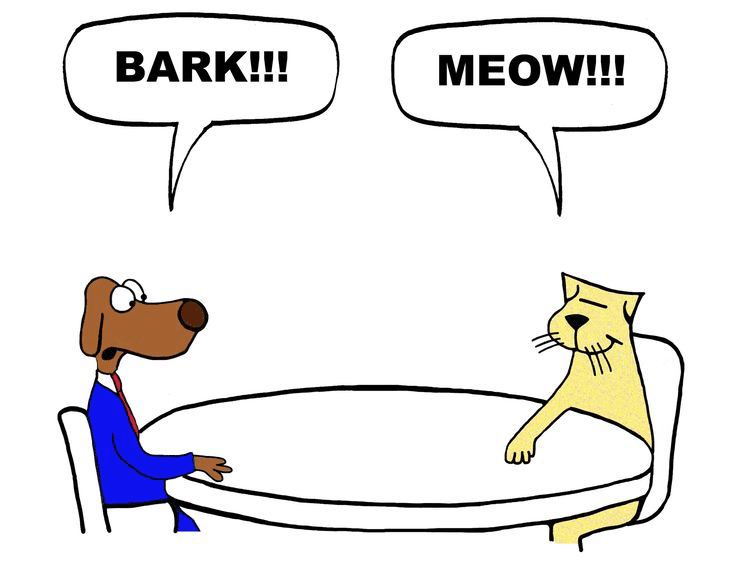 """cartoon of dog and cat sitting at a table. Dog says """"bark."""" Cat says """"Meow."""""""