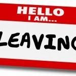 "name tag says ""Hello I am Leaving"""
